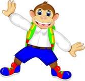Bande dessinée mignonne de singe se tenant avec rire et onduler illustration stock