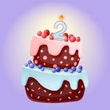 Bande dessinée mignonne gâteau de fête d'anniversaire de 2 ans avec la bougie numéro deux Biscuit de chocolat avec des baies, des illustration de vecteur