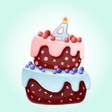 Bande dessinée mignonne gâteau de fête d'anniversaire de 4 ans avec la bougie numéro quatre Biscuit de chocolat avec des baies, d illustration stock