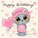 Bande dessinée mignonne Kitten Girl avec un ballon Illustration Stock