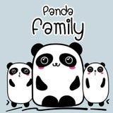 Bande dessinée mignonne Panda Family Background Illustration de Vecteur