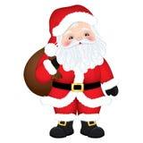 Bande dessinée mignonne Santa Claus de vecteur avec le sac Images libres de droits