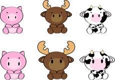 Bande dessinée mignonne set7 d'animaux de bébé Image libre de droits