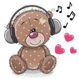 Bande dessinée mignonne Teddy Bear avec des écouteurs illustration stock