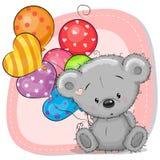 Bande dessinée mignonne Teddy Bear avec des ballons Photographie stock libre de droits