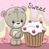 Bande dessinée mignonne Teddy Bear avec le gâteau illustration stock