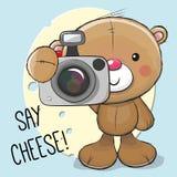 Bande dessinée mignonne Teddy Bear avec un appareil-photo Images stock