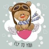 Bande dessinée mignonne Teddy Bear dans un chapeau pilote Photo stock