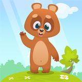 Bande dessinée mignonne Teddy Bear sur un pré avec des fleurs illustration libre de droits
