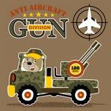 Bande dessinée militaire de camion avec l'arme à feu lourde photos stock