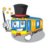 Bande dessinée miniature de métro de magicien au-dessus de table illustration libre de droits