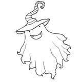 Bande dessinée noire et blanche, museau drôle, fantôme dans un chapeau, d'isolement Illustration Stock