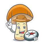 Bande dessinée orange de mascotte de champignon de boletus de chapeau d'explorateur illustration de vecteur
