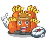 Bande dessinée orange de récif coralien d'explorateur en mer illustration de vecteur