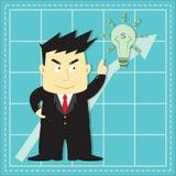 Bande dessinée plate d'investisseur mignon de marché boursier Images stock