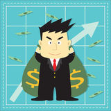 Bande dessinée plate d'investisseur mignon de marché boursier Image stock