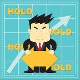 Bande dessinée plate d'investisseur mignon de marché boursier Image libre de droits