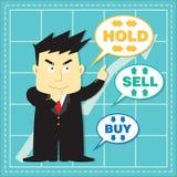Bande dessinée plate d'investisseur mignon de marché boursier Photos stock