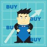 Bande dessinée plate d'investisseur mignon de marché boursier Photos libres de droits