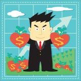 Bande dessinée plate d'investisseur mignon de marché boursier Photo libre de droits