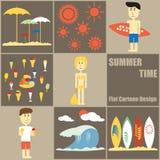 Bande dessinée plate de personnes d'heure d'été Images stock