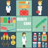 Bande dessinée plate de personnes de soins de santé Photos libres de droits