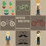 Bande dessinée plate de personnes de style de vélo de hippie Photo stock