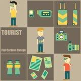 Bande dessinée plate de personnes de touristes Photographie stock libre de droits