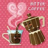 Bande dessinée pleurante sur la tasse de café et le fabricant de café d'expresso d'aluminium illustration stock