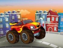 Bande dessinée rapide outre de la voiture de route ressemblant au camion de monstre conduisant par la ville illustration de vecteur