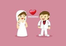 Bande dessinée romantique de vecteur de couples de mariage illustration libre de droits