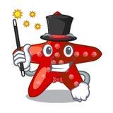 Bande dessinée rouge d'étoiles de mer de jouet de magicien au-dessus de table illustration de vecteur