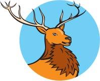 Bande dessinée rouge de cercle de tête de cerfs communs de mâle illustration de vecteur