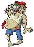 Bande dessinée rouge de zombi de cou avec le grand ventre Image libre de droits