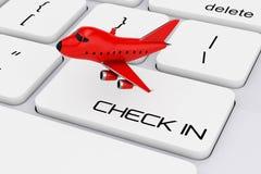 Bande dessinée rouge Toy Jet Airplane au-dessus de clavier d'ordinateur avec le contrôle I Photos stock