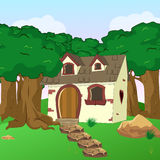 Bande dessinée rurale Forest Cabin Landscape Photo libre de droits