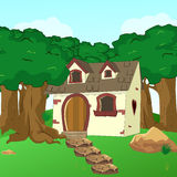 Bande dessinée rurale Forest Cabin Landscape Photo stock