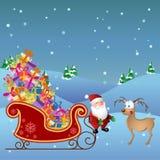 Bande dessinée Santa avec les cerfs communs et le traîneau illustration libre de droits