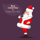 Bande dessinée Santa Claus Character Icon sur élégant Images libres de droits