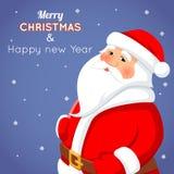 Bande dessinée Santa Claus Character Icon sur élégant Photographie stock