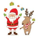 bande dessinée Santa Claus mignonne et cerfs communs Vecteur Photo stock