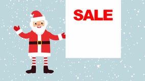 Bande dessinée Santa Claus sur un fond de neige en baisse avec une bannière vide pour votre texte illustration stock