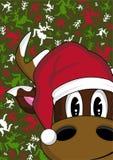 Bande dessinée Santa Hat Reindeer Images libres de droits