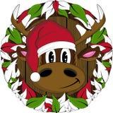 Bande dessinée Santa Hat Reindeer Photo libre de droits