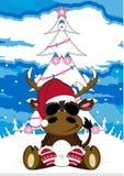 Bande dessinée Santa Hat Reindeer Photos libres de droits