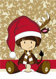Bande dessinée Santa Reindeer Girl Images stock