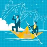 Bande dessinée simple des hommes d'affaires ramant le bateau Travail d'équipe, succès Photographie stock
