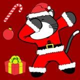 Bande dessinée tamponnante de costume de Noël Claus de chat de pose de limande illustration de vecteur