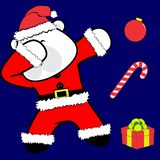 Bande dessinée tamponnante de costume de Noël Claus d'ours blanc de pose de limande illustration de vecteur