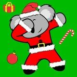Bande dessinée tamponnante de costume de Noël Claus de koala de pose de limande illustration libre de droits